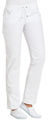 clinicfashion 10627040 Stretch Hose Damen weiß, elastisches Rippstrickbündchen mit Kordeltunnelzug, Mischgewebe, Größe 50
