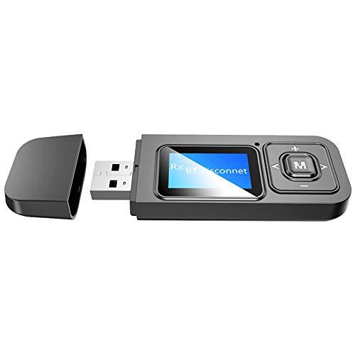 NXACETN Coche De Pantalla Digital LCD 3.5mm 2 En 1 Adaptador De Transmisor Receptor Inalámbrico Bluetooth5.0 Negro