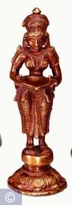 Spirituelle Statue Lakshmi - Stehend, Messing, 14 cm