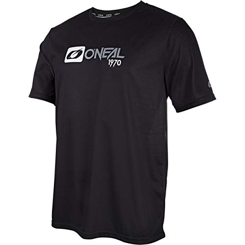 O'NEAL | Mountainbike-Shirt | MTB Mountainbike DH Downhill FR Freeride | Atmungsaktives Material, Schnell trocknend, antibakteriell | Slickrock Jersey | Erwachsene | Schwarz Grau | Größe L