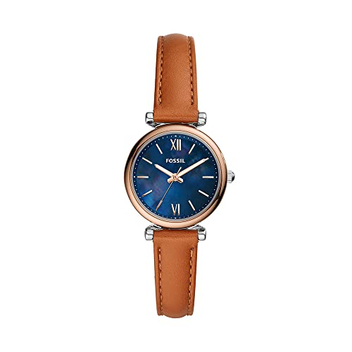 FOSSIL Womens Watch Carlie Mini, 28mm case size, Three Hand movement, Leather strap