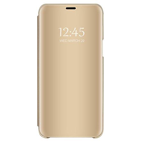 """Carcasa Xiaomi Mi 8 Flip Fundas Espejo PC Clear View 360° Protectora Xiaomi Mi 8 Lite Cover con Función de Soporte Anti-Choque Impermeable Case para Smartphone Mi 8 2018 6.21"""" (Mi 8 Lite, Dorado)"""