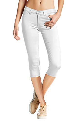 Hybrid & Company Women's Hyper Stretch Denim Capri Jeans Q44876 White Medium