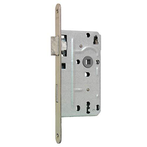 KFV Buntbart-Einsteckschloss 104 - Stulp abgerundet - 20mm Stulpbreite - silber - inkl. 1 Schlüssel - 72mm Entfernung - 8mm Vierkant (DIN rechts)