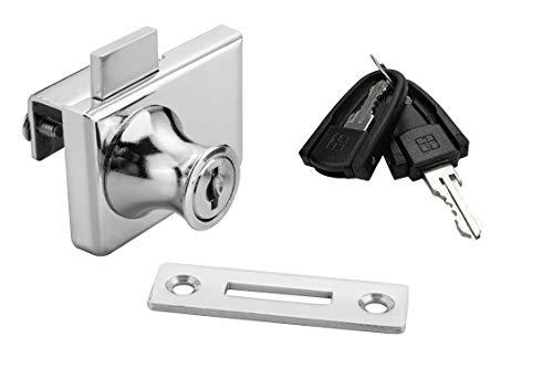 Zinc Alloy Glass Door Lock, XIEHE Display Cabinet Lock Glass Showcase Lock 417 Double Glass Door Locker with 2 floding Keys