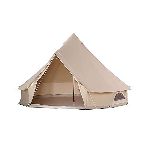 Bell Tent Glamping Canvas Tent 4-Season Yurt Tents with Sturdy Center & Door Pole and 4 Windows Waterproof Large Tents for Family Camping Outdoor Hunting 3-12 Persons