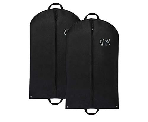 Ferocity 2 fundas para ropa de 120 cm para trajes de negocios, abrigos para almacenamiento y viaje, a prueba de polillas, plegable y lavable, color negro [127]