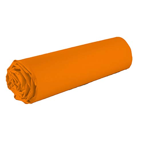 Best Interior Drap Housse uni 100% Coton 57fils - Orange, 160x200cm