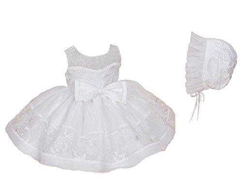 Cinda Baby Elfenbein Taufe Partei-Kleid mit Spitzenhäubchen Elfenbein 62-68