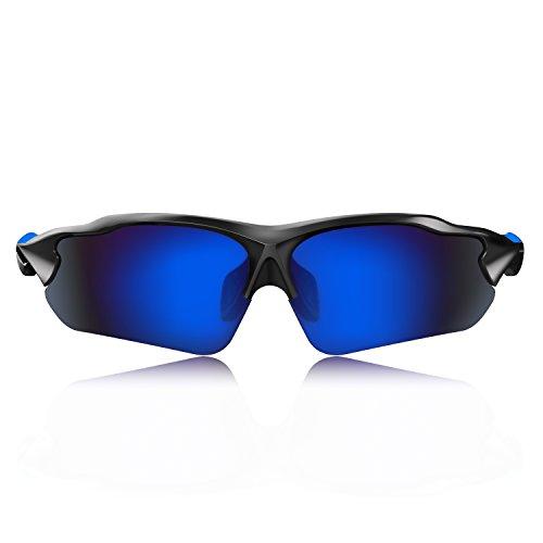 Hulislem Blade Sport Polarized Sunglasses For Men Women (Matte Black-Blue) Sports Womens Mens