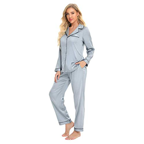 qazxsw Damen Langarmhose Imitation Satin Imitation Seide Home Pyjama Damen Revers...