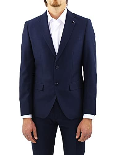 Abito Uomo Slim Fit Elegante Completo Blu Sartoriale in Microfantasia Martellata Classico (50, Numeric_50)