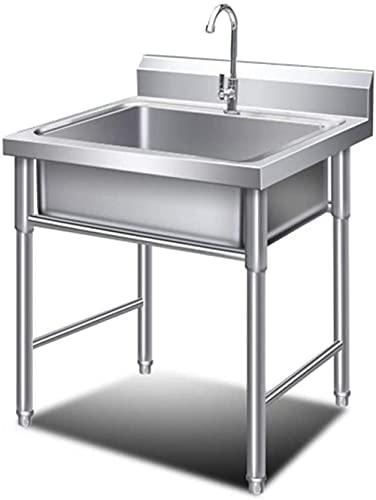 XHNXHN Fregadero Comercial de Cocina Lavabo de Acero Inoxidable Lavabo a Mano Solo Bowl Compartimiento Higiénico Robustfor Hotel/Restaurante/Catering, Fácil de limpiar