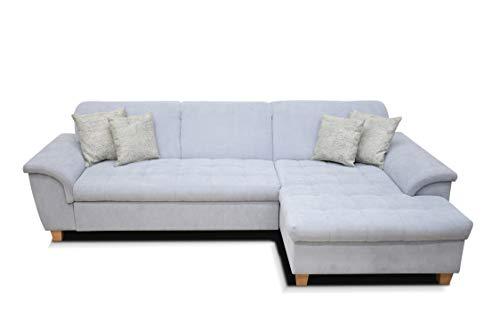 DOMO Ecksofa Franzi / Couch in L-Form Sofa Polsterecke / 279 x 162 x 81 cm / Eckcouch in pastelblau (blau)