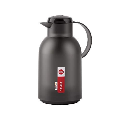 Emsa N4011900 Samba Isolierkanne (1,5 Liter, Quick Press Verschluss, 12h heiß und 24h kalt) Transluzent/Schwarz