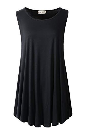 LARACE Women Solid Sleeveless Tunic for Leggings Swing Flare Tank Tops (1X, Black)