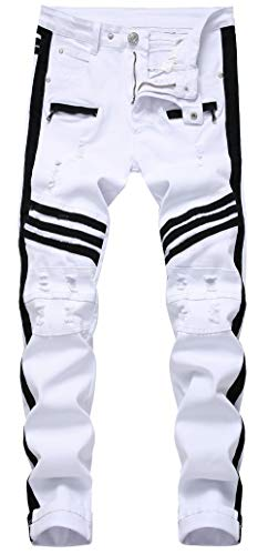 CLOTPUS Men's Biker Moto Skinny Denim Jeans Tapered Leg Ripped Slim Fit Stretchy(White W32)