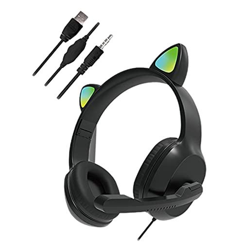 balikha Auriculares con Cable USB Cat Ear para PC Juegos Laptop TV Smartphones - Negro