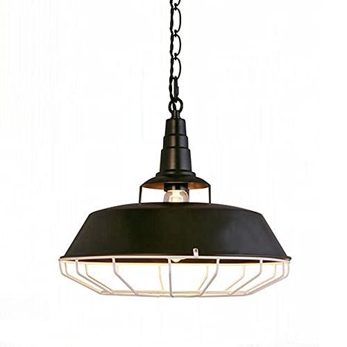 NAMFHZW Linterna Industrial Antigua Lámpara Colgante de Techo Acabado en Metal Negro Lámpara Colgante E27 1 luz Lámpara Colgante Semi empotrada Conjunto Ajustable en Altura Luminaria Restaurante Café