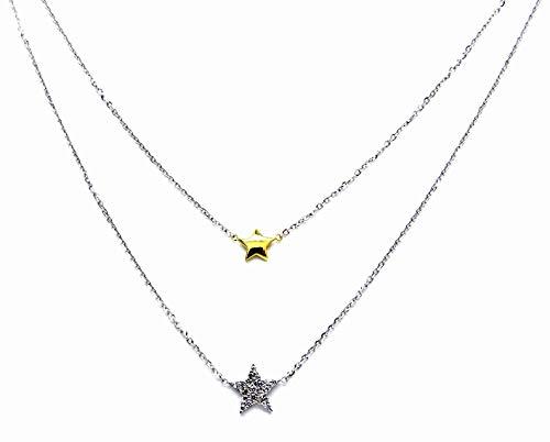 Collana Oro Bianco 18kt (750) Catenina Girocollo Collier Doppio Filo Stelle Bicolore Donna Ragazza