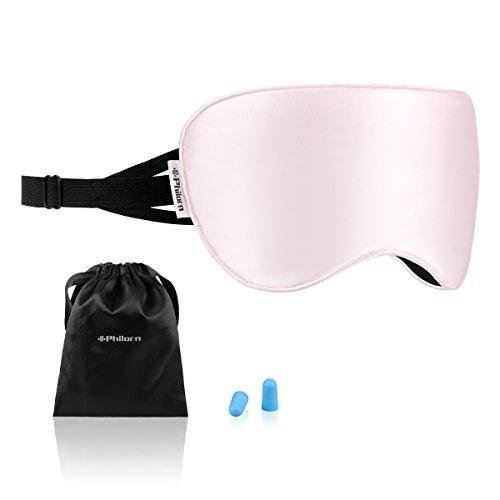 Philom zijden slaapmasker, 100% huidvriendelijk oogmasker, puur katoen gevulde slaapbril met anti-lawaai oordopjes, 3 rubberen bandjes, compleet donker tegen licht roze