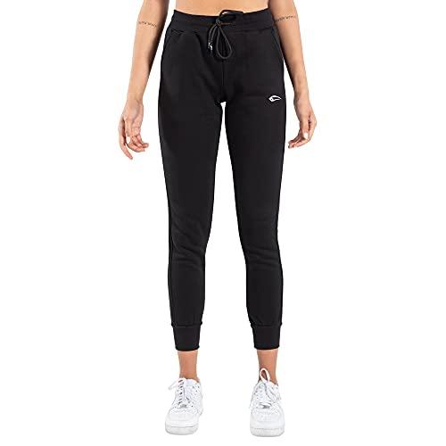 SMILODOX Damen Jogginghose Kimberly - Lange Hose im Slim fit mit high Waist Bund und Tunnelzug, Größe:S, Color:Schwarz
