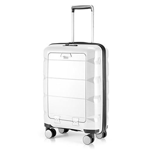 HAUPTSTADTKOFFER - Britz – bagaglio a mano con scomparto per computer portatile, trolley, trolley, valigia da viaggio, TSA, 4 ruote, 55 cm, 34 litri, bianco