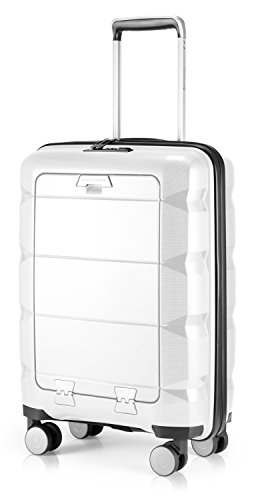 HAUPTSTADTKOFFER - Britz - Maleta de Mano con Compartimento para Ordenador portátil, Maleta rígida con Ruedas, TSA, 4 Ruedas, 55 cm, 34 litros, Color Blanco