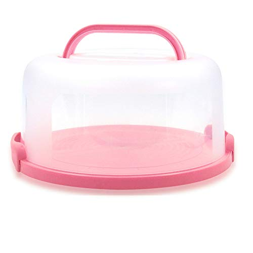 Top Shelf Elements Cake Carrier for Up to 10 inch x 4 1/2 inch Cake. Two Sided Fashionable Stand Doubles as Five Section Serving Tray, Perfect Taker Caddie for Travel (Coral Pink)