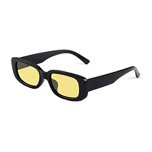 Long Keeper Gafas de sol rectangulares Protección UV400 Gafas de conducción retro para mujer (Negro Amarillo)