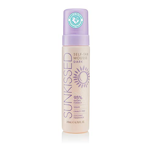 Sunkissed Self Tan Mousse Dark 200ml 95% Natural - Vegan - Cruelty Free - Coconut Fragrance