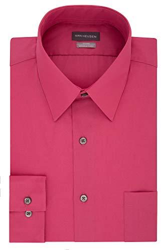 Van Heusen mens Fitted Poplin Solid Dress Shirt, Desert Rose, 16.5 Neck 34 -35 Sleeve Large US
