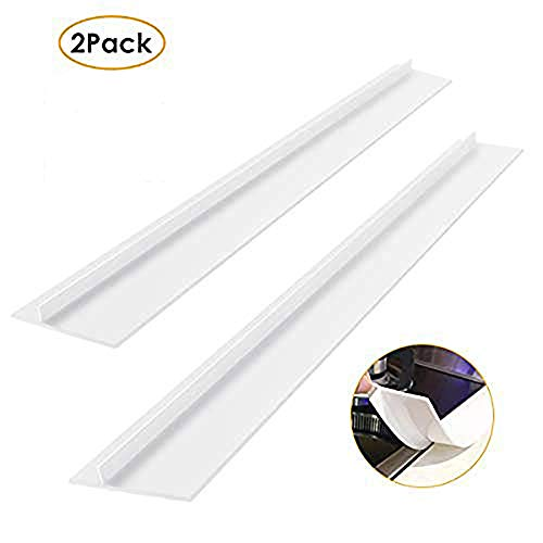 2 teile/satz küche silikonherd gegen lücke abdeckung hitzebeständige breite & lange lückenfüller verschüttet dichtungen (Color : White, Size : 25inch)
