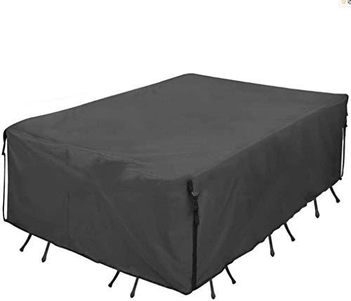 Tuinmeubelen Covers, Outdoor Waterdicht En UV-bescherming Tafel En Stoel Dust Cover 600D Oxford Doek Rechthoekige (Color : Black)