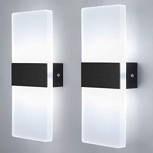 Glighone 2Pcs Applique Murale Intérieur LED Moderne Lampe Murale Acrylique Luminaire Mural Decoration pour Salon Chambre Couloir Salle À Manger, 12W Blanc Froid [Classe énergétique A ++]