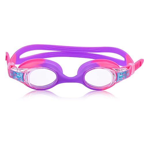 Weyeen Kids Goggles for Swimming Age 3-15, Girls Goggles, Anti Fog No Leaking UV Protection Safe Soft Silicone Swim Goggles for Toddlers Kids Girls (Pink)