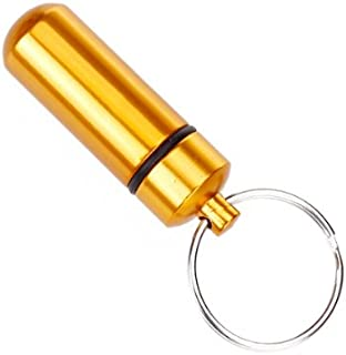 F Fityle Keychain Pill Holder, Keyring Pill Key Fob, Small Mini Size for Travel - Golden