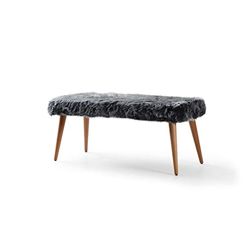 Pyramid Home Decor Faux Fur Ottoman for Bedroom End of Bed - Fluffy Fur Bench with Wood Legs - 40 x 17 x 17.5 Inch Grey Long Ottoman