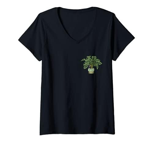Damen Monstera Deliciosa I Tropische Zimmerpflanze Topf Monstera T-Shirt mit V-Ausschnitt