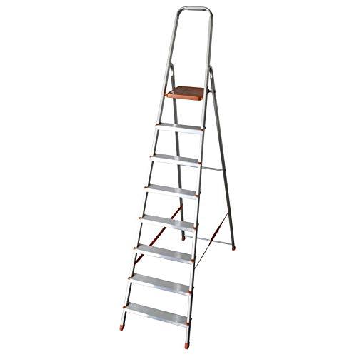 Scala domestica 8 gradini in alluminio portata 150kg Eurodomus E8/N Altezza 232 cm