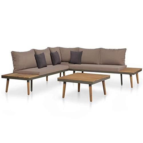 vidaXL Akazie Massiv Gartenmöbel 4-TLG. Sitzgruppe Lounge Sitzgarnitur Sofa