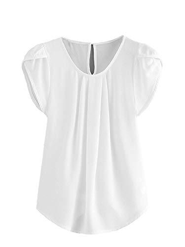 Milumia Women's Casual Round Neck Basic Pleated Top Cap Sleeve Curved Keyhole Back Blouse White Medium