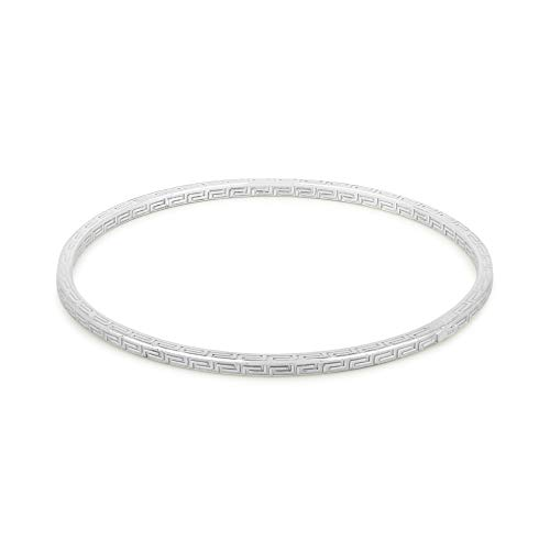Vanbelle Sterling Silver Jewelry Self-Textured Bangle with Rhodium Plating for Women and Girls