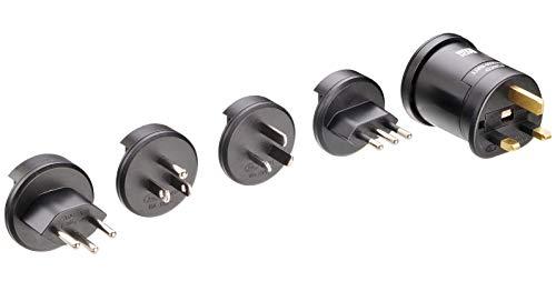 Bachmann 914.672 reisstekker adapter met geaard stopcontact, zwart, 250 V