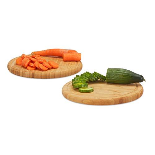 Relaxdays Frühstücksbrettchen rund 2er Set, Bambus, 30 cm, Küchenbrett, pflegeleicht, natürlich, messerschonend, natur