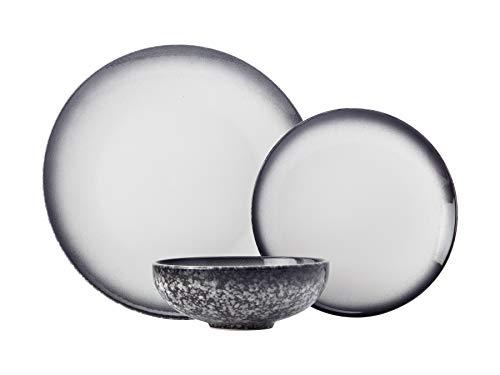 Maxwell & Williams - Servizio da tavola in granito, 12 pezzi, in confezione regalo, in porcellana, colore: nero