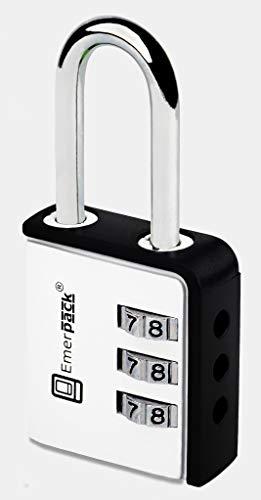 Combinatieslot, cijferslot voor spindel/hangslot met cijfercode nummers/combinaties hangsloten voor spinnen, schoolspin, sporttassen, bagage, koffer kleuren wit-zwart