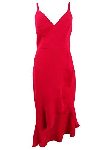 Xscape Ruffled High Low Dress Dark Red