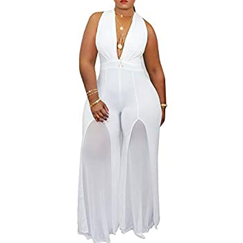 IyMoo Plus Size Jumpsuits and Rompers for Women - Sexy Wide Leg Sleeveless Chiffon Tights High Waist Jumpsuit Rompers White 3XL