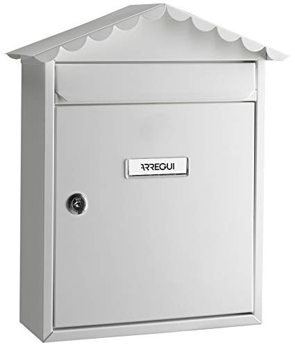Arregui Visit E5741 Buzón Individual de Acero, tamaño M (DIN A4), Blanco, 360 x 300 x 110 mm